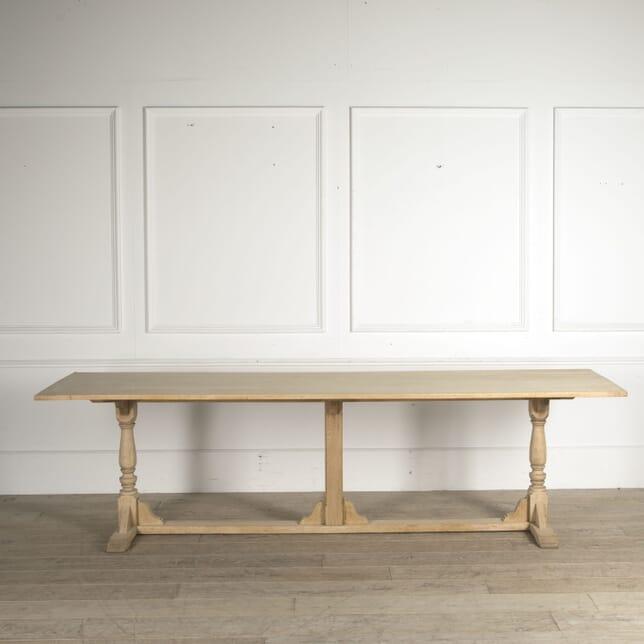 Large 19th Century Bleached Oak Trestle Table BU0410354