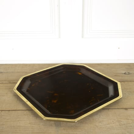 Large 70s Christian Dior Faux Tortoiseshell Tray with Brass Edging DA299354