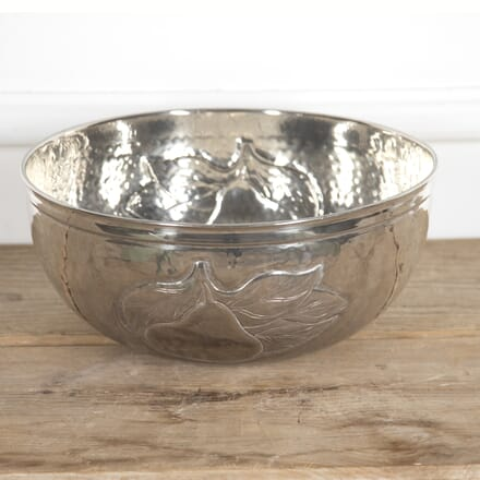 Large Indian Silver Plate Hammered Bowl DA1516623