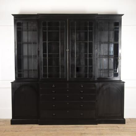 Large English Ebonised Breakfront Bookcase BK8416263