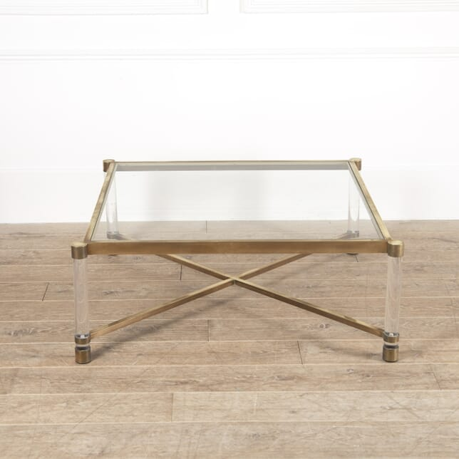 Large French Brass and Lucite Coffee Table TC4514157