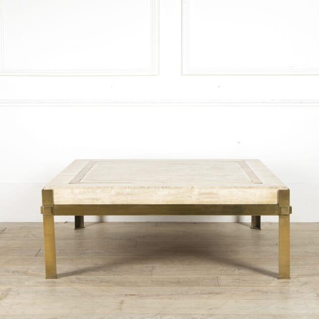 Large Modernist Travertine & Brass Coffee Table CT0510022