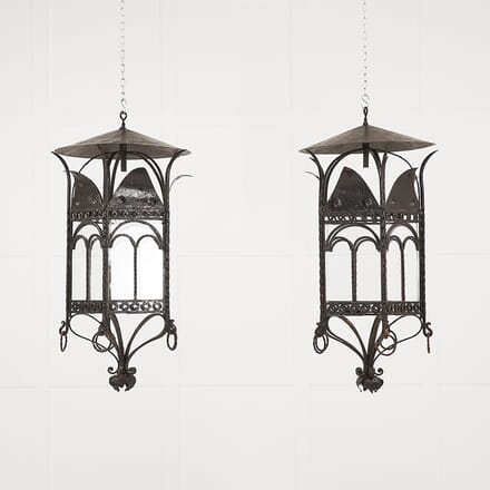 Large Pair of French 1940s Wrought Iron Lanterns LL068944