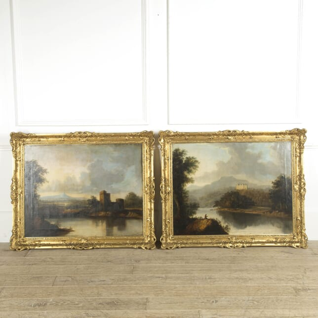 Large Pair of Scottish 19th Century Country House Oil Paintings WD889975