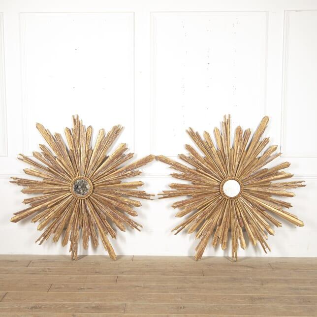 Pair of Large Spanish Sunburst Mirrors MI4516235