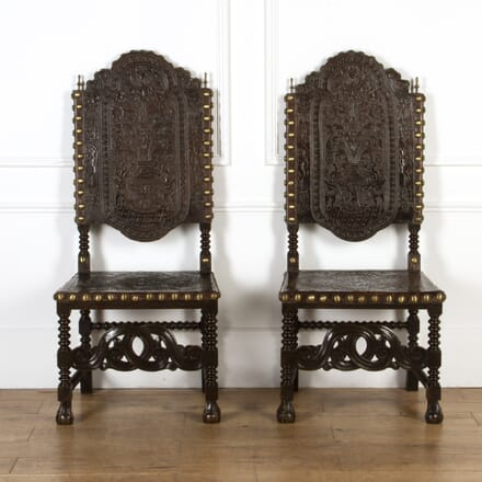 Large Pair Spanish Leather Chairs CH0317421