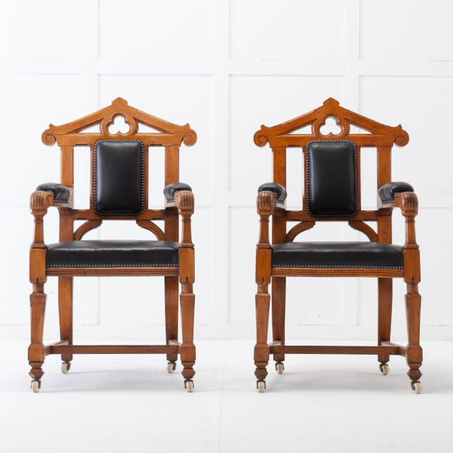 Late 19th Century Pair of Gothic Oak Armchairs CH0617131