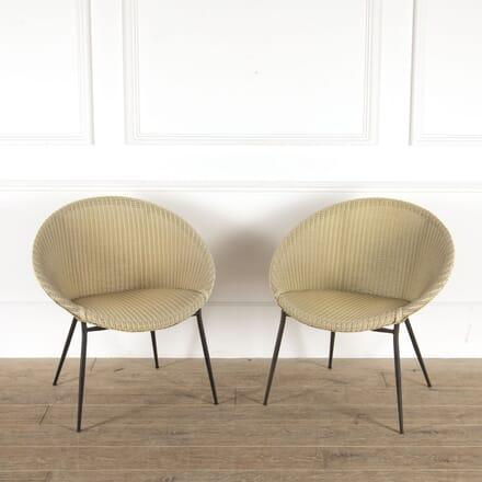 Pair of Lloyd Loom Yellow Sputnik Chairs CH7814496