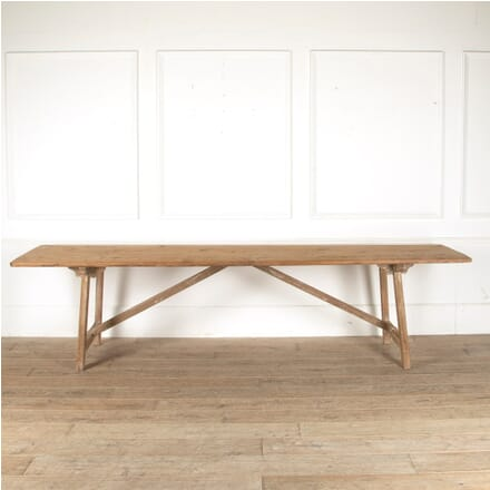 Long Narrow 19th Century French Pine Trestle Table CO4411333