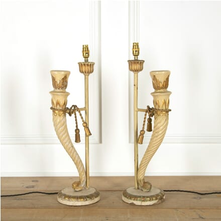 Pair of Painted Wood Carved Lamps LT135360