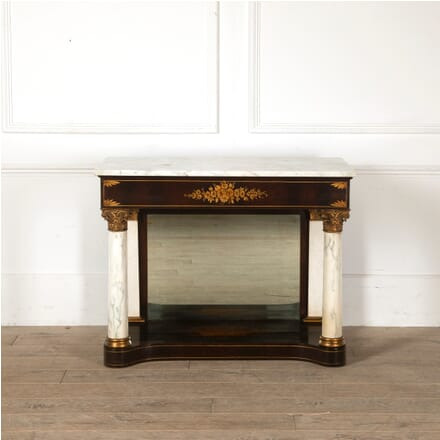 Mahogany Console Table with Marble Top CO8811201