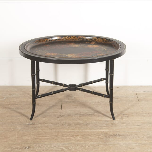 Floral English Toleware Tray on Stand CO8815091