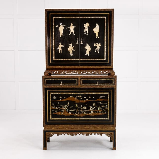 Mid 20th Century Chinese Lacquered and Ebonised Drinks Cabinet CU0610185