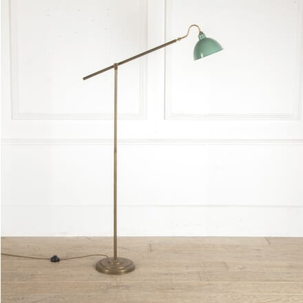 Mid Century Brass Floor Lamp with Green Shade LF4812729