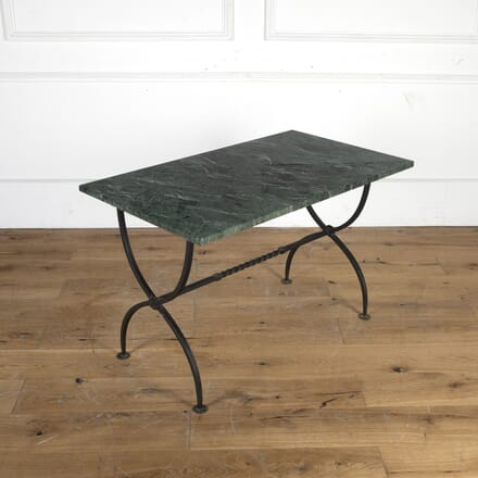 Mid Century Green Marble and Wrought Iron Coffee Table CT5813531