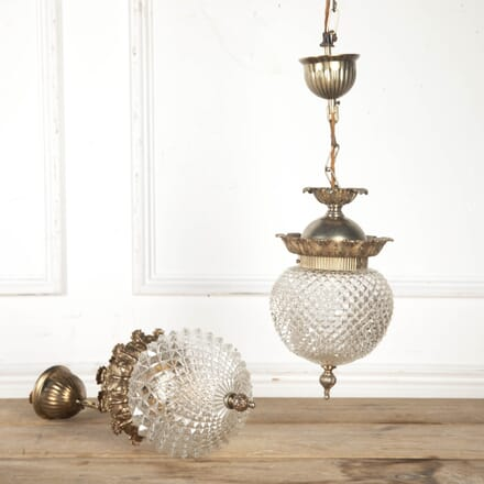 Near Pair of French Glass Pendant Lights LL8716224