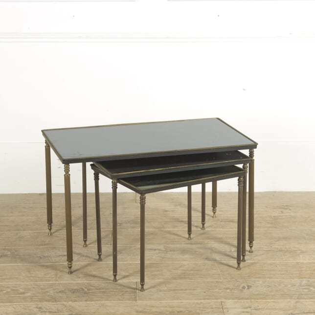 Nest of 3 Tables with Black Mirrored Glass TC1310002