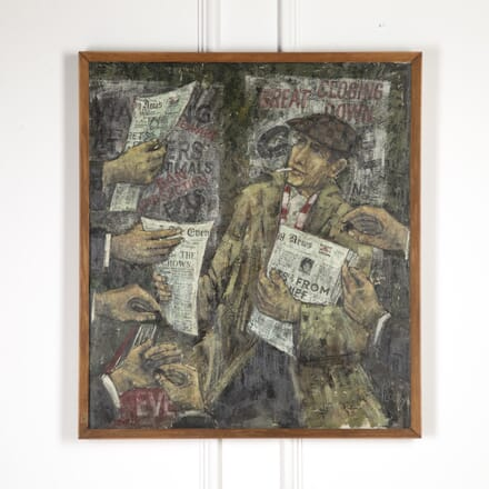 'News Please' Oil on Board by Jonas Plosky WD9016819