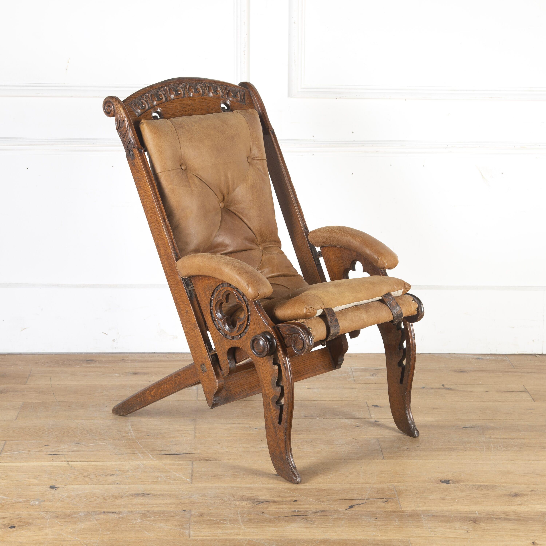 Oak Colonial Campaign Chair Lorfords Antiques