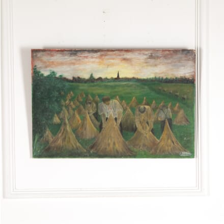 Oil on Canvas of French Workers Gathering Hay WD7714272