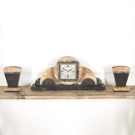 Onyx Art Deco Clock Set DA8815123