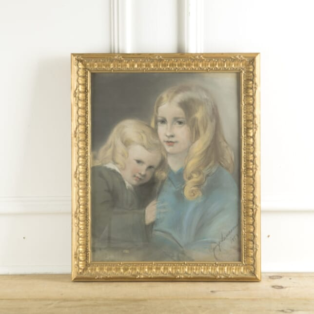 Original Pastel Painting of Two Sisters by George Landseer WD889715