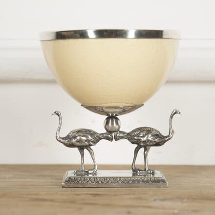 Ostrich Egg and Silver Plate Bowl DA1515332