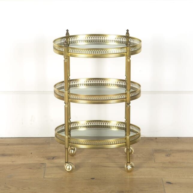 Oval Mid 20th Century Brass Cocktail Trolley CT589621