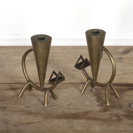 """Pair Art Deco """"Cat"""" Brass Candlesticks DA5816906"""