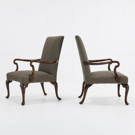 Pair of 1930s English Walnut Armchairs CH069574