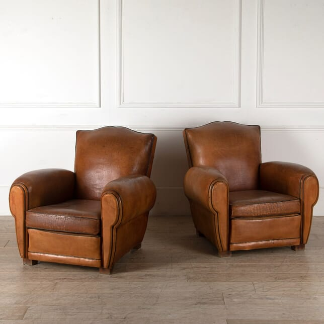 Pair of 1940 Leather Club Chairs CH6010870