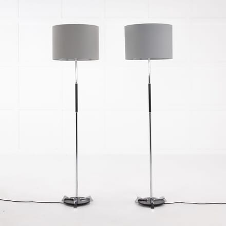 Pair of 1960s Spanish Chrome and Metal Floor Lamps LF068922