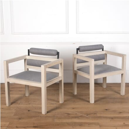 Pair of 1970s Bleached Oak Armchairs CH3610280