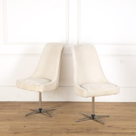 Pair of 1970s Swivel Office Chairs in English Shearling ST5358106