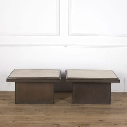 Pair of 1970s Travertine and Steel Side Tables CO3610260