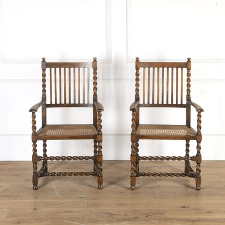 Pair of 19th Century Arts & Crafts Barley Twist Chairs CH5913875