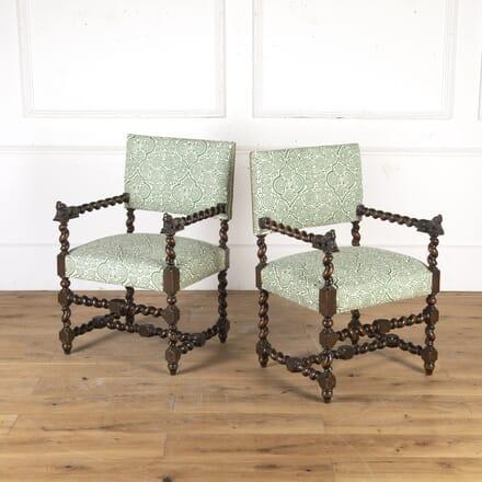 Pair of 19th Century Barley Twist Baronial Chairs CH5915945