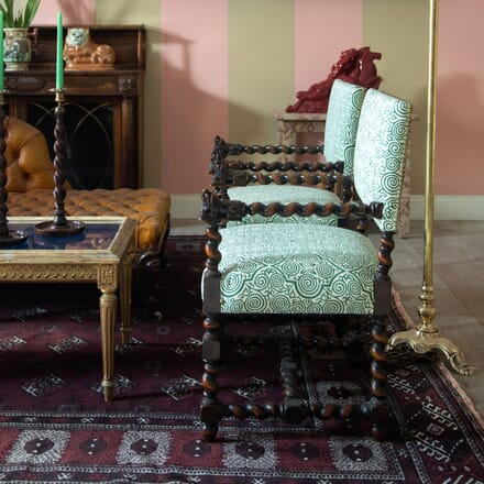 Pair of 19th Century Barley-Twist Baronial Chairs CH5915945
