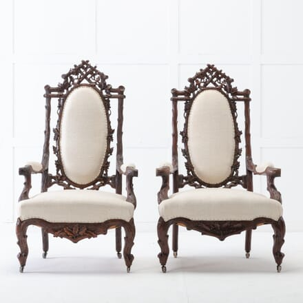Pair of 19th Century Black Forest Open Armchairs CH0617026