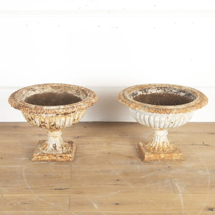 Pair of 19th Century Cast Iron Garden Urns GA8213817