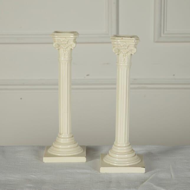 Pair of 19th Century English Creamware Candlesticks DA7611529