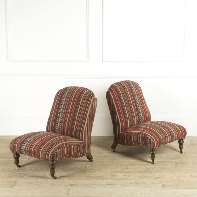 Pair of 19th Century English Slipper Chairs CH0110300