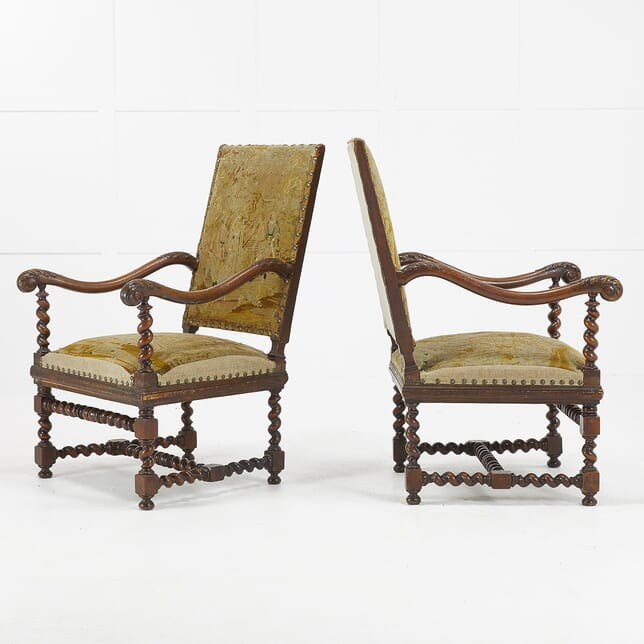 Pair of 19th Century French Carved Walnut Tapestry Chairs CH069465