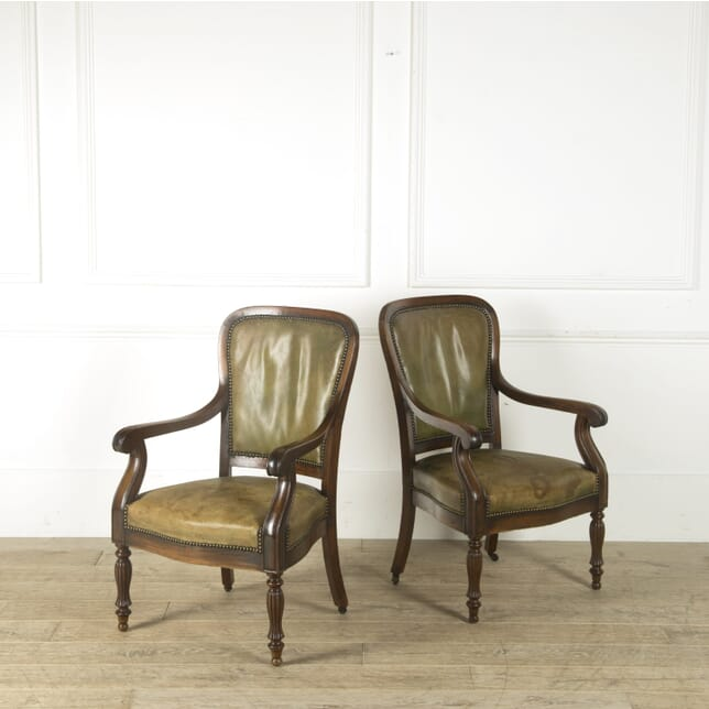 Pair of 19th Century French Library Chairs CH459809