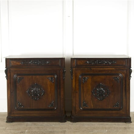 Pair of 19th Century French Rosewood Veneer Pier Cabinets CU889679
