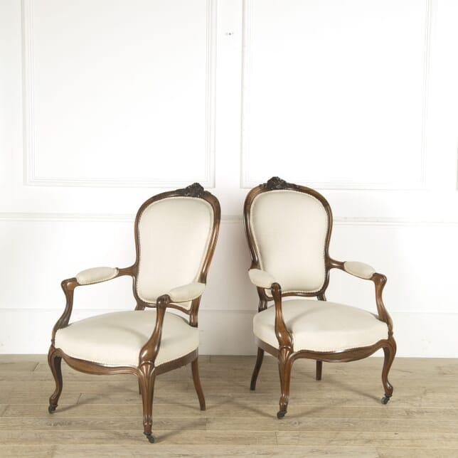 Pair of 19th Century French Walnut Fauteuils CH889540