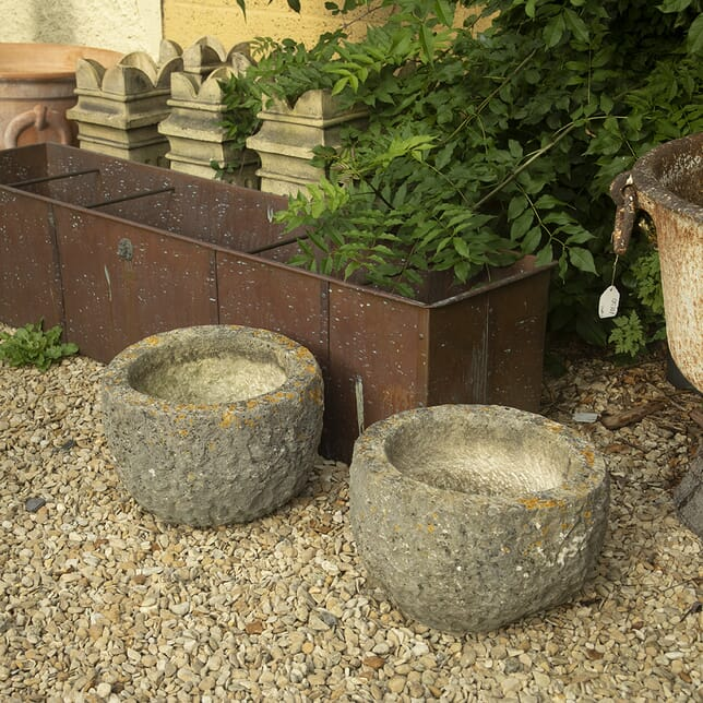 Pair of 19th Century Hewn Stone Circular Planters GA4211128
