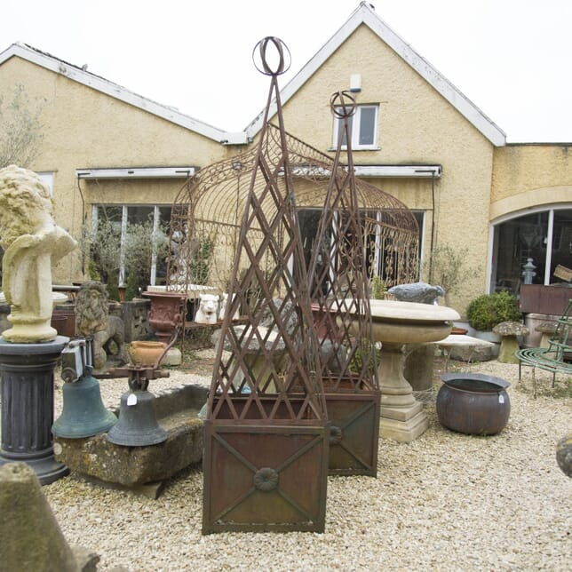 Pair of 19th Century Iron Obelisk Planters GA429504
