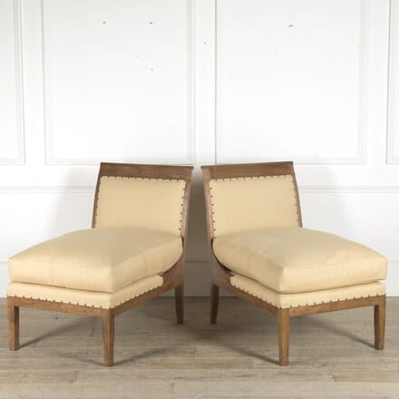 Pair of 19th Century French Directoire Slipper Chairs CH0110523