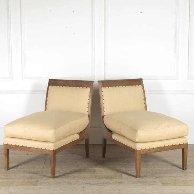Pair of 19th Century Large French Directoire Slipper Chairs CH0110523